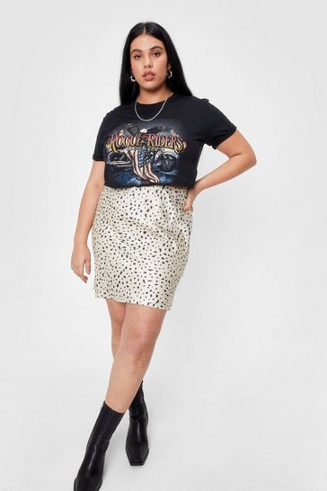 Plus Size Satin Animal Print Mini Skirt, Cream