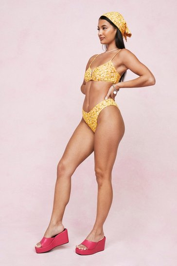 Yellow Ditsy Floral Print 3 Pc Bikini and Bandana Set