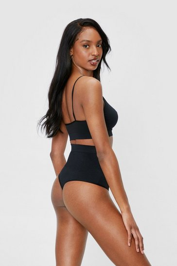 Black Seamless High Waisted Control High Leg Thong