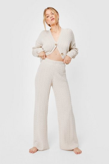 Stone Cable Knit Wide Leg Loungewear Set