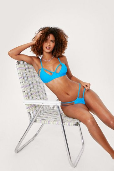Electric blue Cut Out Strappy Cupped Detail Bikini Set