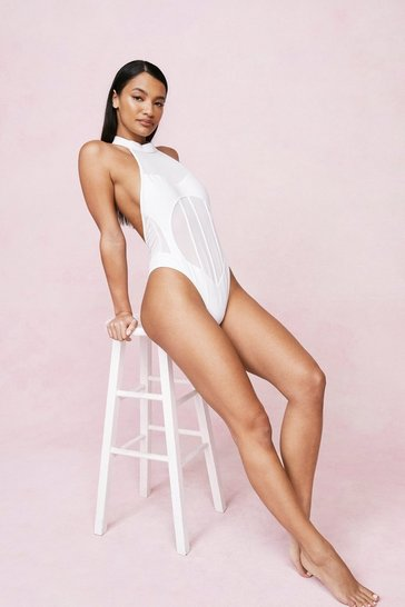 White High Neck Mesh Panel High Leg Swimsuit