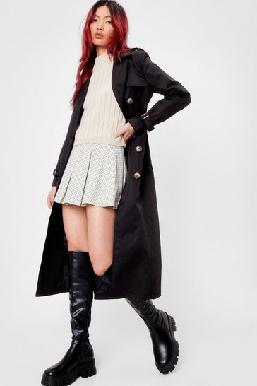 Black Let's Take This Outside Longline Belted Trench Coat