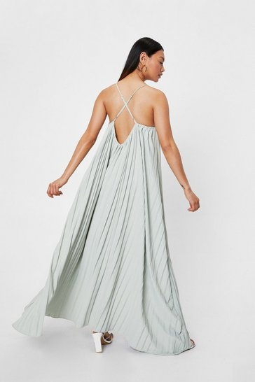 Sage Petite Pleated Strappy Maxi Dress