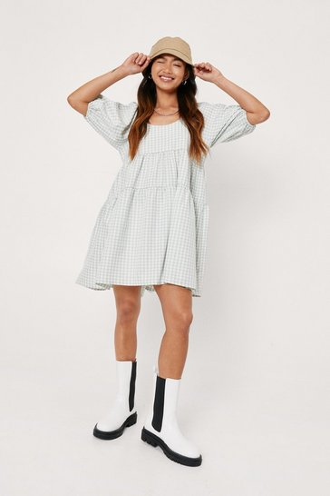 Sage Petite Gingham Print Tiered Mini Dress