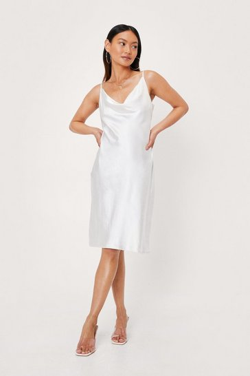 White Petite Cowl Neck Satin Bias Cut Midi Dress