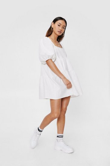 White Petite Puff Sleeve Tiered Smock Mini Dress