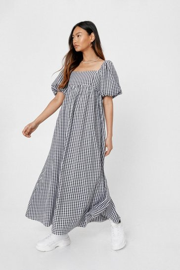 Black Petite Gingham Print Square Neck Maxi Dress