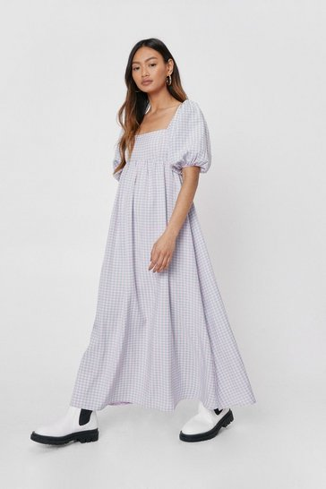Lilac Petite Gingham Print Square Neck Maxi Dress