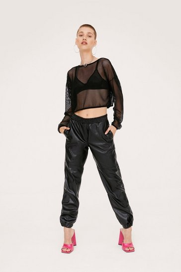 Black Faux Leather High Waisted Relaxed Jogger Pants