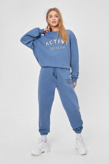 Blue Active Society Embroidered Sweatpants