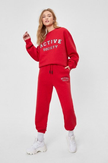 Red Active Society Embroidered Joggers