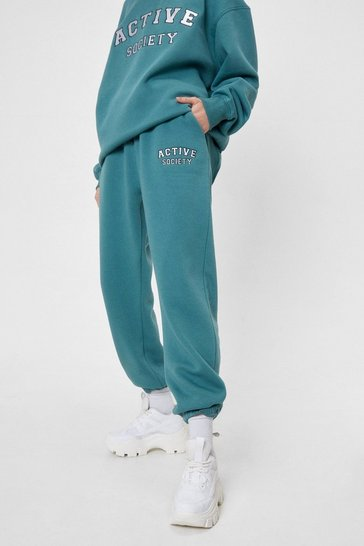 Teal Active Society Embroidered Joggers