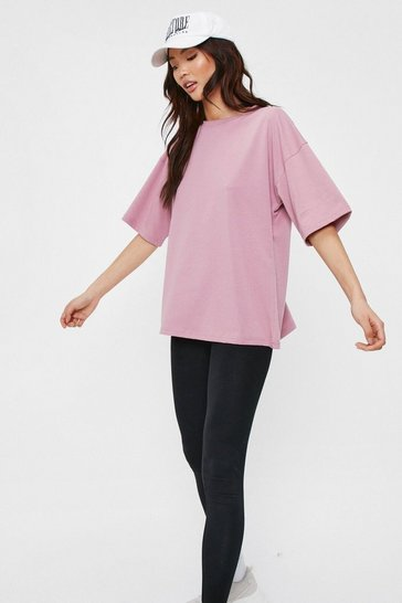 Dusky pink Work It Out Oversized Crew Neck Tee
