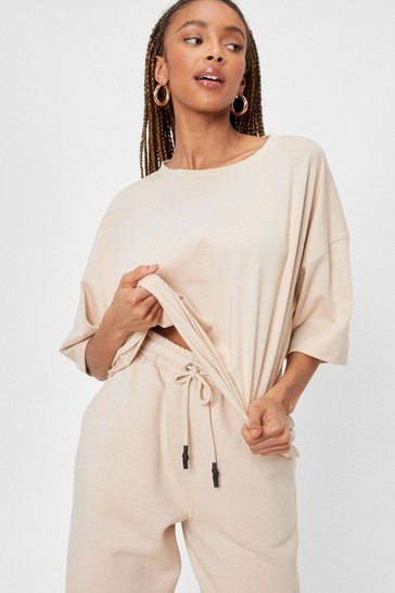 Sand Oversized Crew Neck T-Shirt