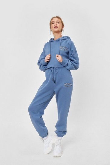 Blue Active Society Cropped Embroidered Hoodie