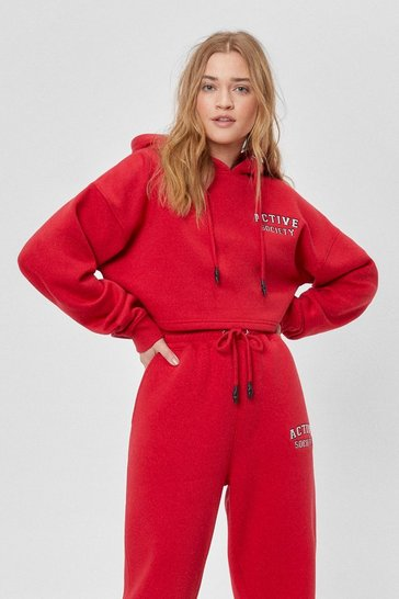 Red Active Society Cropped Embroidered Hoodie