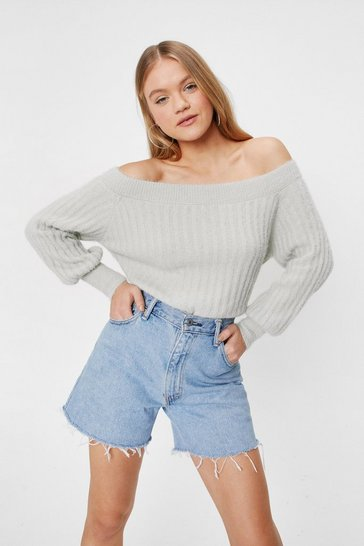 Peppermint Off the Shoulder Balloon Sleeve Knitted Sweater