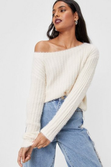White Fluffy Knit Off the Shoulder Sweater