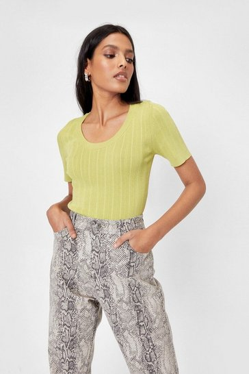 Lime Ribbed Scoop Neck Top