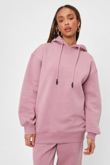 Dusky pink Relaxed Long Sleeved Drawstring Hoodie