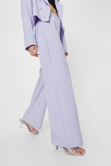 Lilac High Waisted Tailored Wide Leg Pants