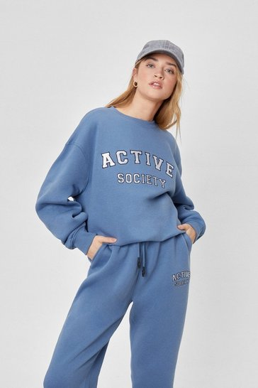 Blue Active Society Oversized Embroidered Sweatshirt