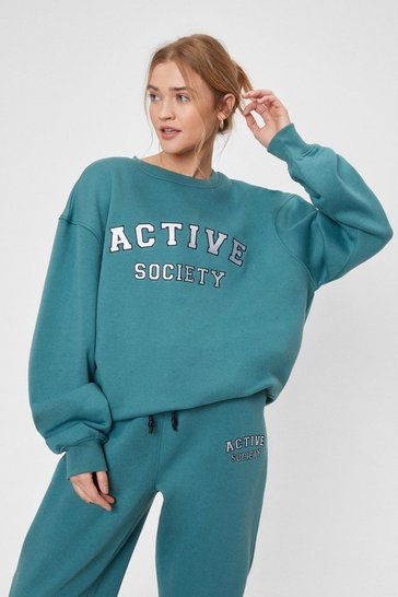 Teal Active Society Oversized Embroidered Sweatshirt