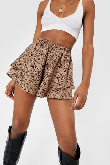 Tan Irregular Spotty Print Ruffle Tiered Shorts