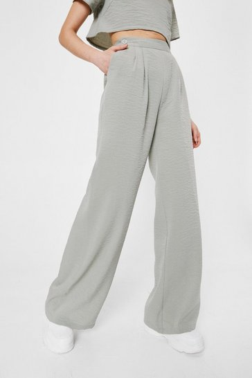 Sage Linen Look Pleated Front Wide Leg Pants