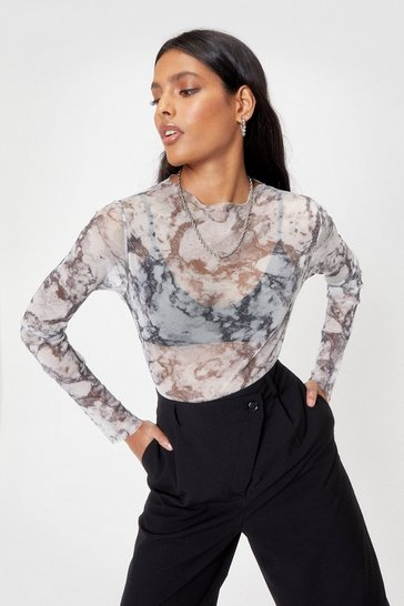 Grey Mesh Marble High Neck Bodysuit