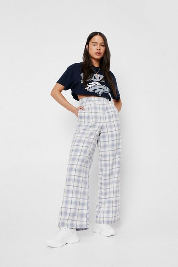 Blue Petite Asymmetric Check Print Wide Leg Pants
