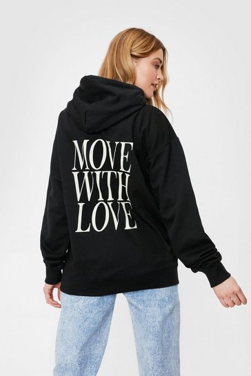 Black Move With Love Oversized Graphic Hoodie