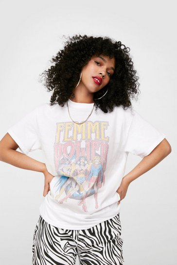 White Femme Power Oversized Graphic T-Shirt