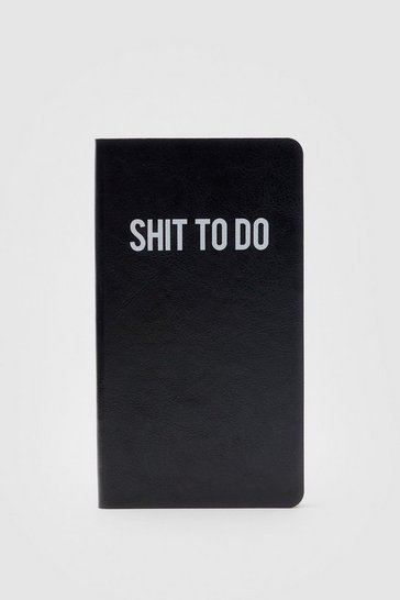 Black Shit to Do Faux Leather Slim Notebook