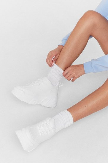 White Lace Up Chunky Platform Sneakers