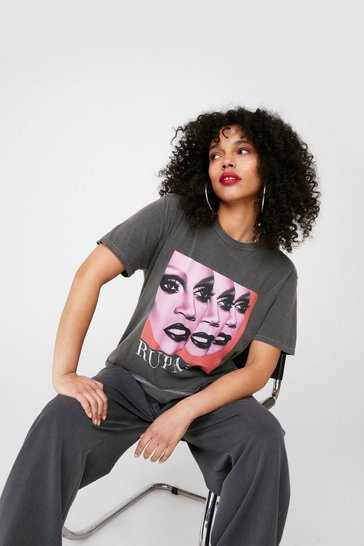Charcoal RuPaul Oversized Graphic T-Shirt