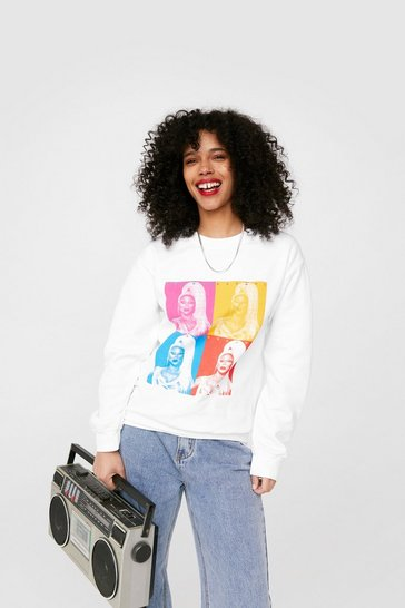 White RuPaul Graphic Sweatshirt