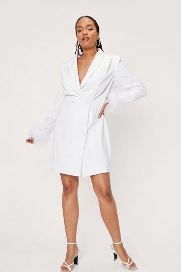 Ivory Plus Size Bridal Feather Trim Blazer Dress