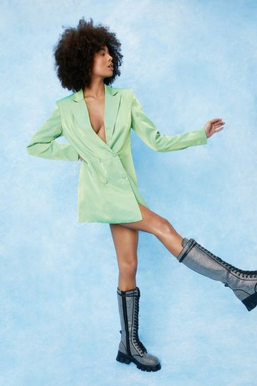 Lime Shimmer Double Breasted Oversized Blazer Dress