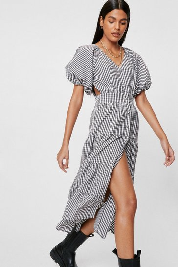 Black Gingham Print Puff Sleeve Tiered Midi Dress