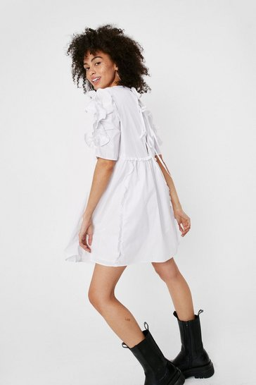 White Ruffle Puff Sleeve Tie Back Mini Smock Dress