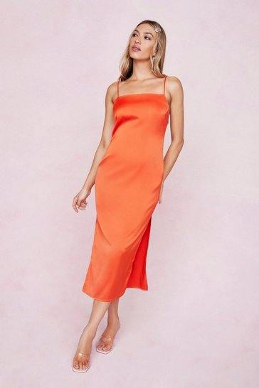 Orange Satin Square Neck Split Hem Midi Dress