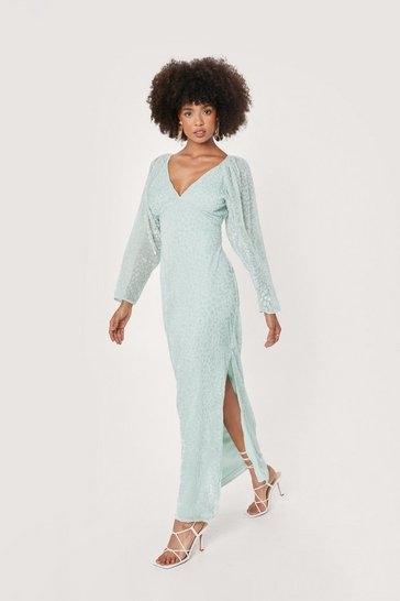 Mint Bridal Leopard Devore Split Hem Maxi Dress