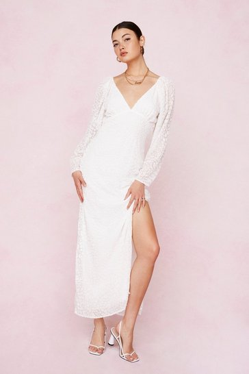 White Bridal Leopard Devore Split Hem Maxi Dress