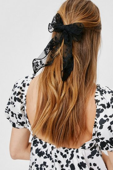 Black Lace Oversized Bow Hair Clip