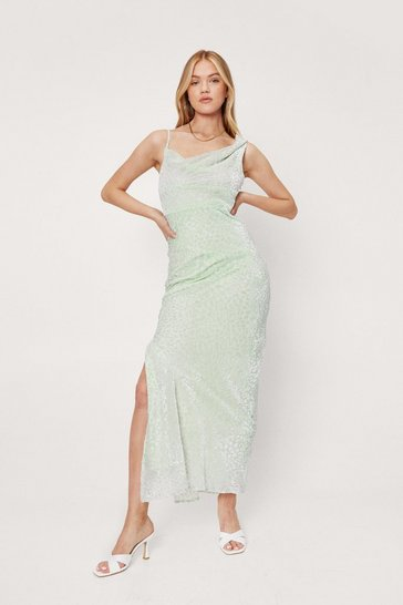 Mint Cowl Neck Devore Split Hem Maxi Dress