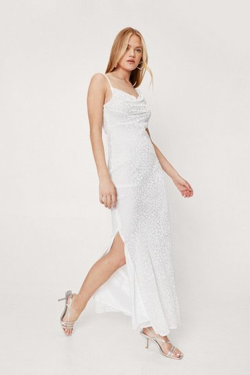 White Cowl Neck Devore Split Hem Maxi Dress