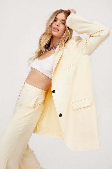 Lemon Oversized Slouchy Button Down Blazer