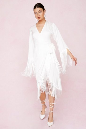 Ivory Bridal Wrap Fringe Detail Midi Dress